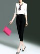 White-black 3/4 Sleeve V Neck Polyester Top With Pants