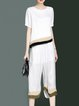 White Short Sleeve Printed Crew Neck Top With Pants