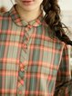 Orange Long Sleeve Checkered Peter Pan Collar Cotton-blend Blouse