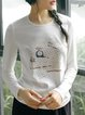 Long Sleeve Printed Cotton-blend Crew Neck Top