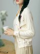 Crew Neck Long Sleeve Floral-embroidered Cardigan