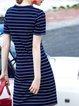 Navy Blue Stripes Casual Crew Neck Mini Dress