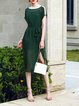 Dark Green Solid Short Sleeve See-through Look Polyester Dress With Cami
