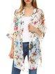 White Polyester Resort Floral-print Kimono