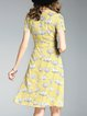 A-line Floral Short Sleeve Surplice Neck Girly Midi Dress