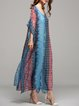 Multicolor Polyester Resort V Neck Maxi Dress