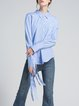Blue Stripes Shirt Collar Polyester Casual Blouse