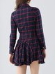 Red Casual Asymmetric Checkered/Plaid A-line Tunic