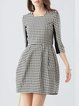 Checkered/Plaid Folds Half Sleeve Scoop Neckline Casual Mini Dress