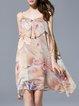 Pink Spaghetti Floral Sleeveless Midi Dress