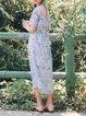 Light Blue Polyester Girly Halter Floral Midi Dress