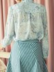 Ruffled Light Blue Floral-print Blouse