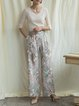Pink Girly Floral-print Wide Leg Pant