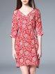 3/4 Sleeve Floral Floral-print Mini Dress