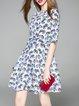 Multicolor Crew Neck Half Sleeve Animal Mini Dress