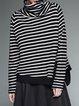 Black-white Knitted Turtleneck Long Sleeve Stripes Top