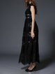 Elegant A-line Guipure Lace Polyester Frill Sleeve Maxi Dress