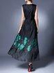 Black A-line Sleeveless Maxi Dress