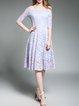 Off Shoulder Half Sleeve Guipure Lace Elegant Midi Dress