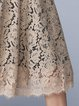 Plus Size  Guipure lace Khaki Stand Collar  Shorts Sleeve Midi Dress