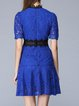 Guipure lace Color-block  Elegant Flounce Polyester Stand Collar Mini Dress