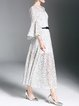 Lace Bell Sleeve A-line Elegant Crew Neck Maxi Dress