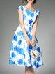 Blue Bateau Neck Floral-print Elegant Midi Dress
