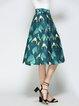Dark Green Animal Print A-line Casual Midi Skirt