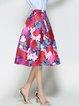 Multicolor Polyester Animal Print Casual Midi Skirt