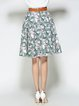 Green Printed leave A-line Polyester Girly Midi Skirt With Belt