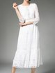 Guipure lace White Elegant Crocheted Midi Dress