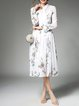 White A-line Long Sleeve Shirt Collar Floral Midi Dress WIth Belt