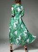 Green Elegant Printed A-line Maxi Dress With Belt