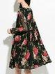 Shift Long Sleeve Girly Floral-print Mini Dress