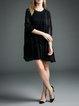 3/4 Sleeve Gathered Chiffon Dress