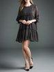 3/4 Sleeve Gathered Mini Dress