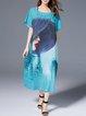 Printed Batwing Casual  Midi Dress