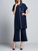 Two Piece Binding Casual Short Sleeve Shirt Collar Top With Pants