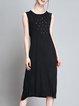 Slit Knitted Beaded Casual Crew Neck H-line Viscose Sleeveless Midi Dress