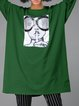 Printed Green Cotton-blend Crew Neck H-line Casual Tunic