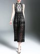 Appliqued Sleeveless Guipure Lace Stand Collar Elegant Midi Dress
