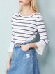 Black-white Bell Sleeve Stripes Sweater