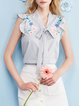 V Neck Stripes Frill Sleeve Casual Floral-embroidered Tops
