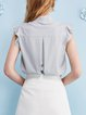 V Neck Stripes Frill Sleeve Casual Floral-embroidered Blouse