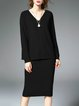 Coffee V Neck Long Sleeve Two Piece Plain Knitted Sweater Dress