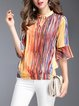 Multicolor 3/4 Sleeve Printed Stripes Silk Casual Keyhole H-line Blouse