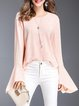 Pink Solid Bell Sleeve Long Sleeved Top