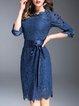 Blue Lace Elegant 3/4 Sleeve Midi Dress with Belt