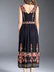Black Casual V Neck Floral Embroidered Midi Dress