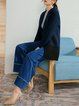 Blue Casual Paneled Denim Wide Leg Pant